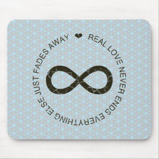 Love Infinity blue flower Mouse Pad