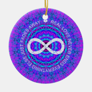 Love Infinity funky purple mandala Ceramic Ornament