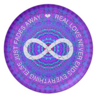 Love Infinity funky purple mandala Dinner Plate