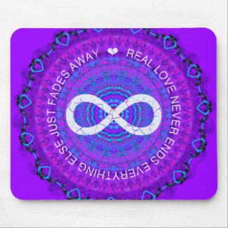 Love Infinity funky purple mandala Mouse Pad