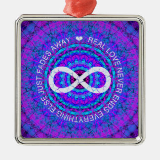 Love Infinity funky purple mandala Christmas Ornaments