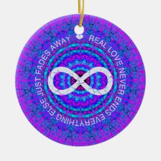 Love Infinity funky purple mandala Ornament