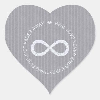 Love Infinity grey stripe Heart Sticker