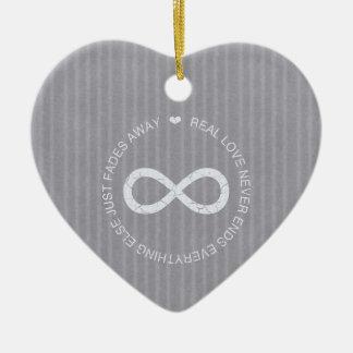 Love Infinity grey stripe Double-Sided Heart Ceramic Christmas Ornament