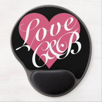 Love Initials Pink Heart Valentine's Day Gel Mouse Pad