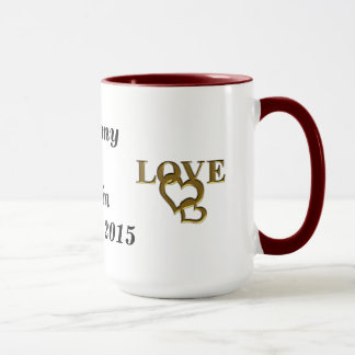 Love Interlocking Heart, Names and Date Ringer Mug
