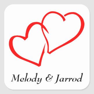 Love Intertwined Red Hearts Personalized Sticker
