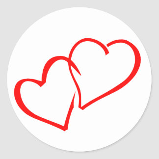 Love Intertwined Red Hearts Wedding Sticker / Seal