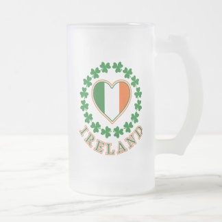 Love Ireland 16 Oz Frosted Glass Beer Mug