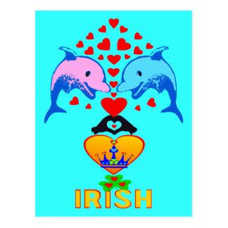 ♫♥Love Irish-Adorable Dolphins-Postcard♥♪