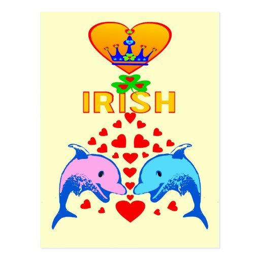 ♫♥Love Irish-Adorable Dolphins-Postcard♥♪ Postcard