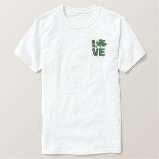 Love Irish Green Shamrock St Patricks Day Embroidered T-Shirt