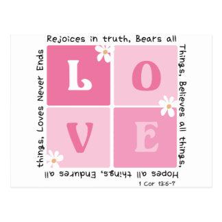 Love Is... 1 Cor 13:6-7 Postcard