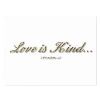 """""""Love is...."""" ( 1 Corinthians 13 ) Postcard"""