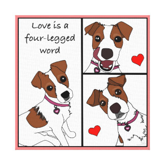Love is a 4-legged Word, cartoon portrait canvas