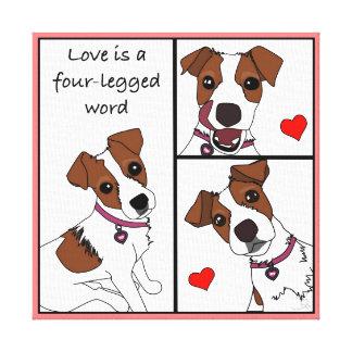 Love is a 4-legged Word, cartoon portrait canvas Canvas Prints