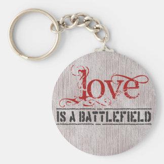 LOVE IS A BATTLEFIELD BASIC ROUND BUTTON KEYCHAIN
