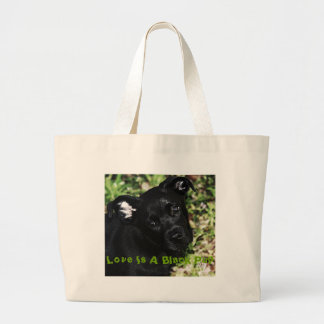 Love Is A Black Pup Large Tote Bag