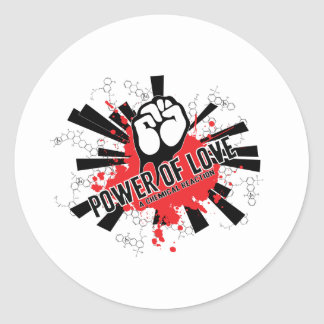 Love is a chemical reaction classic round sticker