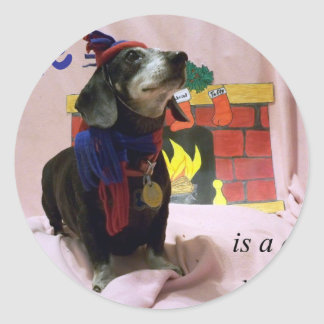 Love is a dog's wet nose classic round sticker