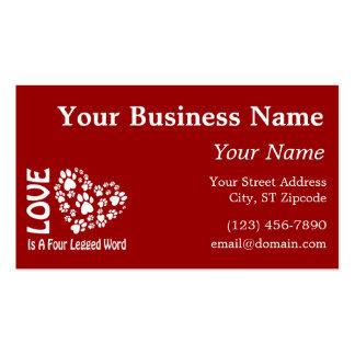 Love Is A Four Legged Word Business Card Templates