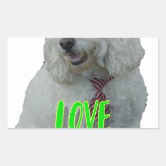Love is a four legged word rectangular sticker