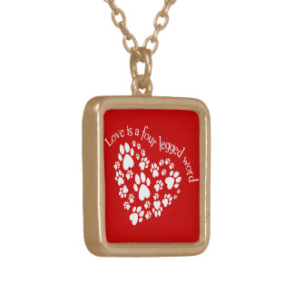 Love Is A Four Legged Word Square Pendant Necklace