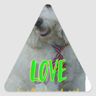 Love is a four legged word triangle sticker