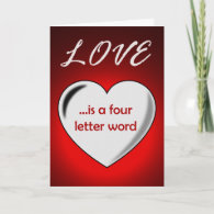 Love is a Four Letter Word Valentine Card