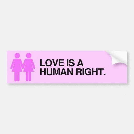 LOVE IS A HUMAN RIGHT.png Car Bumper Sticker