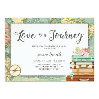 Love is a Journey Travel Bridal shower invitation