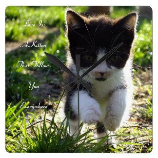 Love Is A Kitten Wall Clock