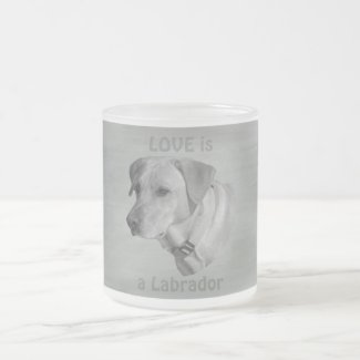 Love is a Labrador Face Frosted Glass Coffee Mug