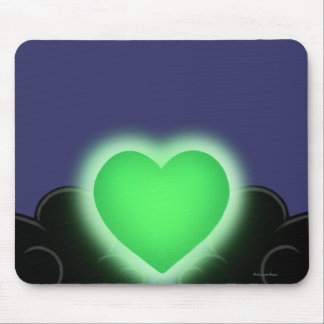 Love Is A Light In The Darkness - Green Heart Mouse Pad