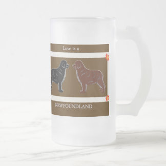 Love is a Newfoundland Frosted Glass Beer Mug