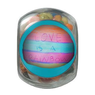 Love is a Rainbow 'Tookii Art' Glass Candy Jars