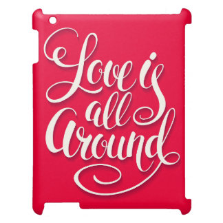 Love Is All Around Script Lettering Pink iPad Cases