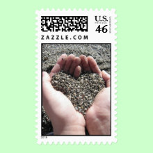 Love is all around us ... Beach Sand Stamp - Beach love, the fingers of the hands are holding pebbles and sand in the shape of a romantic heart. Wonderful postage stamps for numerous occasions, from wedding & baby showers, to holidays of love such as Valentine's Day and Mother's Day. Customize by adding your own text. For example, customize for anniversary or birthday parties, weddings ( RSVP, You're Invited, Love, Just Married, Thank You, Save the Date ), or just to say 'I love you'.