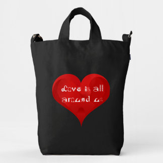 Love is all around us, Red Heart Quote BAGGU Bag