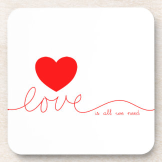 Love Is All We Need Heart Drink Coaster