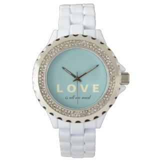 Love Is All We Need Mod White Enamel Watch