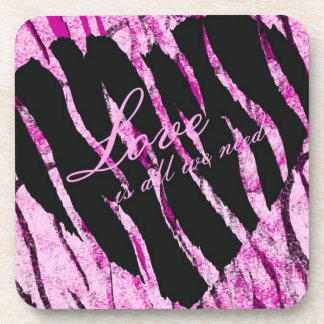 Love Is All We Need Striped Heart Drink Coaster