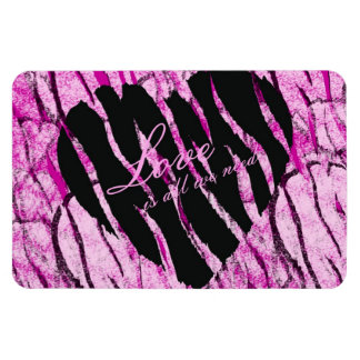 Love Is All We Need Striped Heart Rectangular Photo Magnet