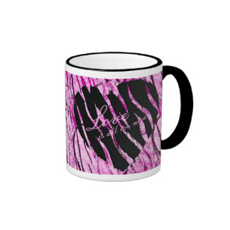 Love Is All We Need Striped Heart Ringer Mug