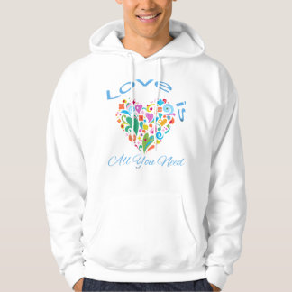 Love is All You Need Decorative Heart Hoodie