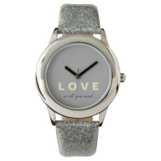 Love Is All You Need Glitter Strap Watch