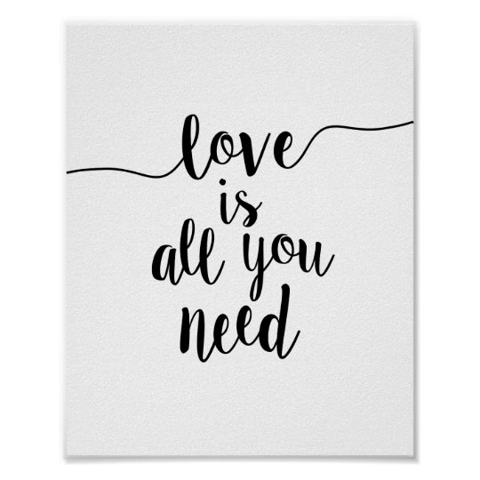 Love Is Quotes: Love Is All You Need Inspirational Quote Art Print