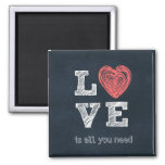 Love is all you need Quote 2 Inch Square Magnet