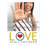 Love is All You Need Yellow Teal Red Heart Photo Postcard