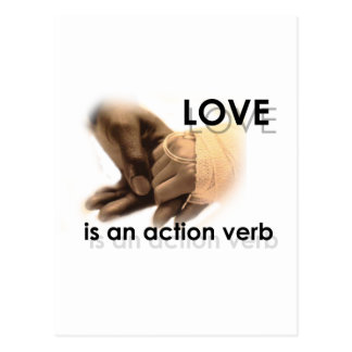 Love is an action verb postcard